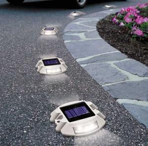 Embedded solar driveway lighting